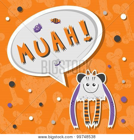 Vector Background With Shabby Bones Seamless Pattern. Scary, But Cute And Lovely Halloween Monster