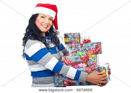 Smiling Santa Helper Holding Several  Gifts