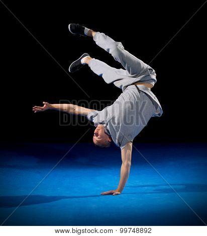 Break dancer training on black