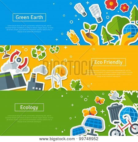 Environmental Protection, Ecology Concept Horizontal Banners Set