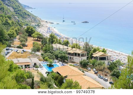 Kathisma Beach, Lefkada Island, Greece. Kathisma Beach Is One Of The Best Beaches In Lefkada Island