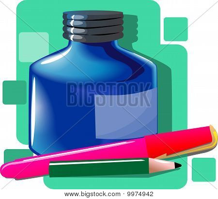 ink bottle and pen