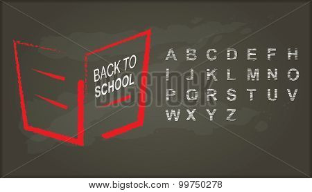 Back To School, Chalkboard With Alphabet