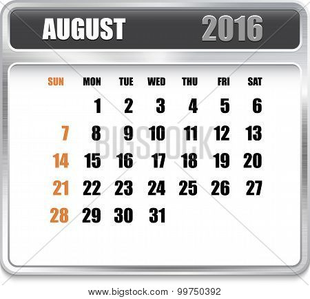 Monthly Calendar For August 2016