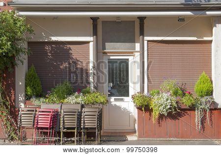 House Facade With Entry Door