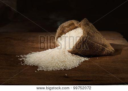 Rice In Small Burlap Sack