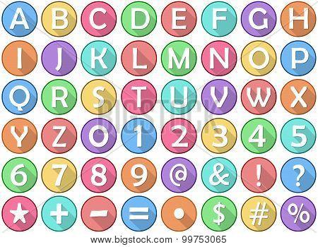 Alphabet Numbers Symbols Flat Round Icons