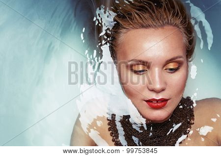 Fashion Portrait Of Charming Glamourous Woman In Water