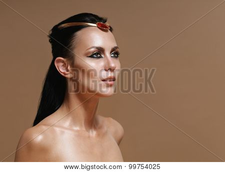 Fashion Portrait Of Fascinating Glamourous Woman On Brown Background