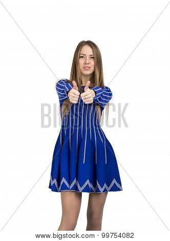 Happy smiling young lady with ok hand sign