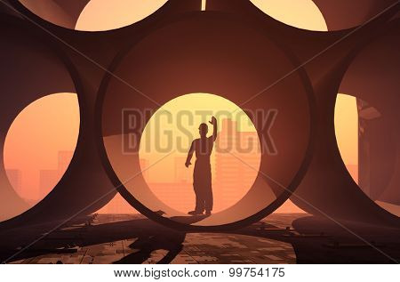 Silhouettes of workers in the pipes.