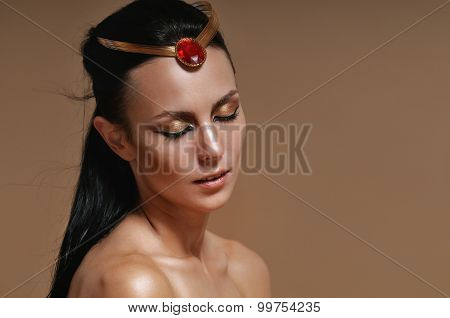 Fashion Portrait Of Sensual Glamourous Woman On Brown Background