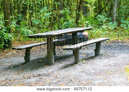 Bench And Table In Forest. Place For Resting For Tourists.