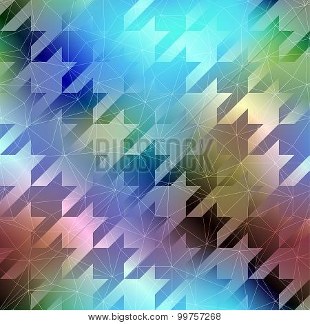 Houndstooth pattern on abstract blurred background.