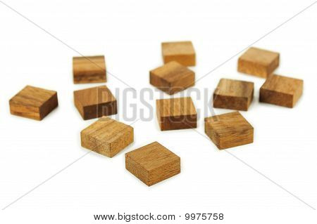 Wooden Square Figures Isolated