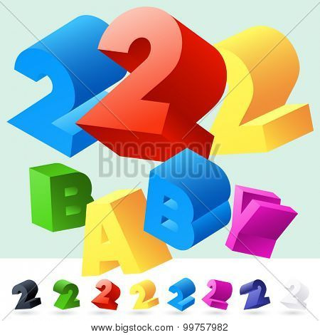 Vector 3D font of randomly rotated colourful letters. All letters in alphabet have 8 random points of view. Number 2