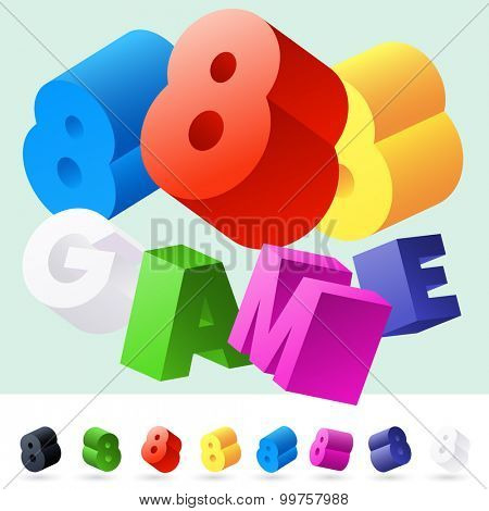 Vector 3D font of randomly rotated colourful letters. All letters in alphabet have 8 random points of view. Number 8