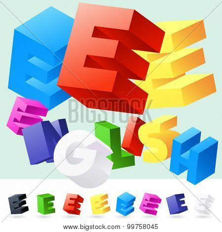 Vector 3D font of randomly rotated colourful letters. All letters in alphabet have 8 random points of view. Letter E