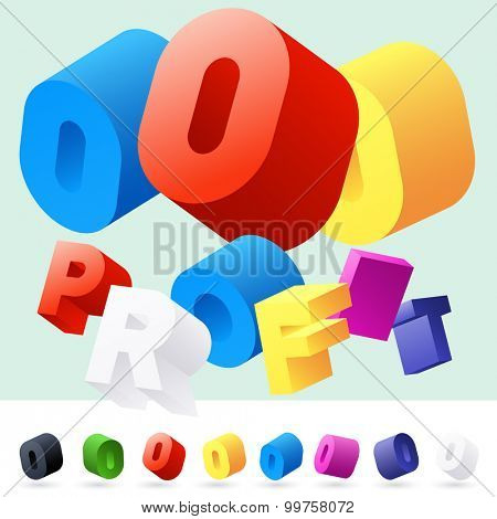 Vector 3D font of randomly rotated colourful letters. All letters in alphabet have 8 random points of view. Number 0