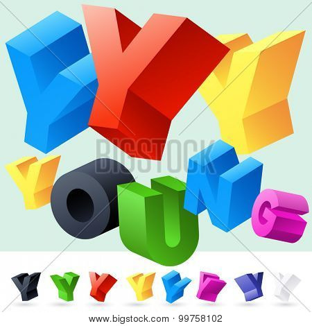 Vector 3D font of randomly rotated colourful letters. All letters in alphabet have 8 random points of view. Letter Y