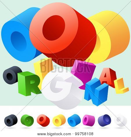Vector 3D font of randomly rotated colourful letters. All letters in alphabet have 8 random points of view. Letter O