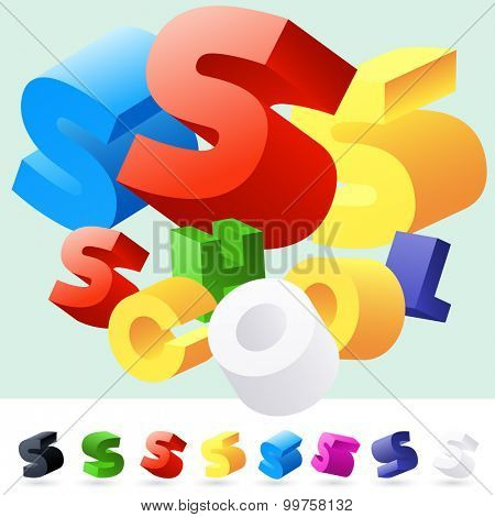 Vector 3D font of randomly rotated colourful letters. All letters in alphabet have 8 random points of view. Letter S