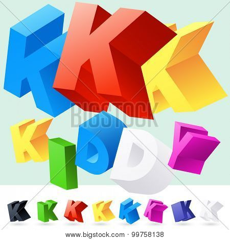 Vector 3D font of randomly rotated colourful letters. All letters in alphabet have 8 random points of view. Letter K
