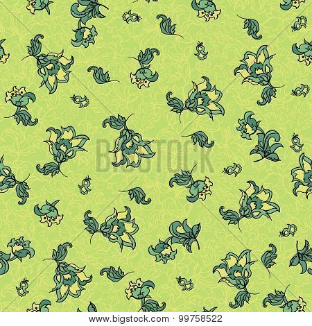 seamless floral pattern. green retro vector background