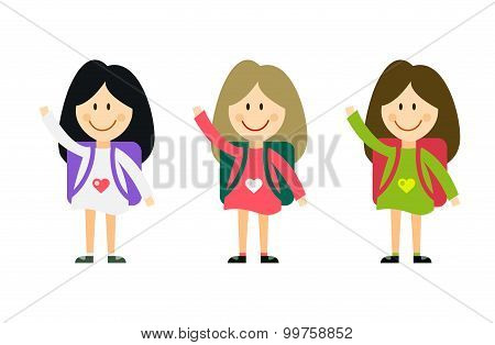 Vector cute cartoon girl with school uniform isolated on white