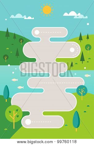Stylized Road Map Illustration against Countryside Hills and River Background. Infographics Template