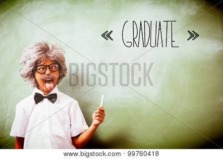 The word graduate against boy dressed as senior teacher in front of blackboard