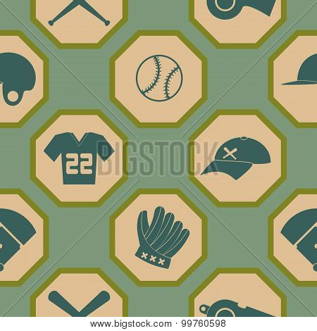 seamless background with  baseball icons