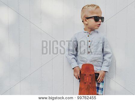 Cute Little Guy In Big Trendy Sunglasses