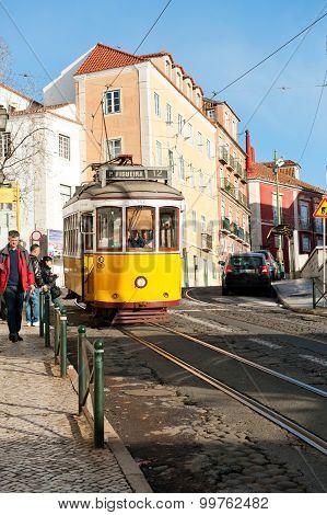 Vintage yellow tram 12 In Lisbon