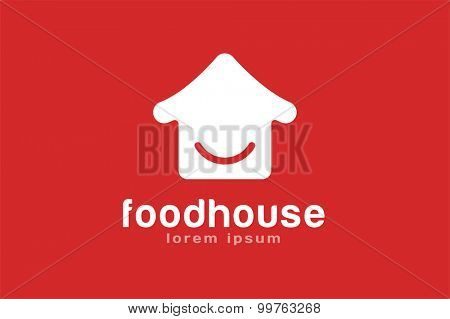 Chinese or japanese fast food restaurant silhouette. Chef logo. House logo icon template. Asian kitchen, home silhouette, cafe building, china or japan chef, fast food restaurant, sushi. Japanese food