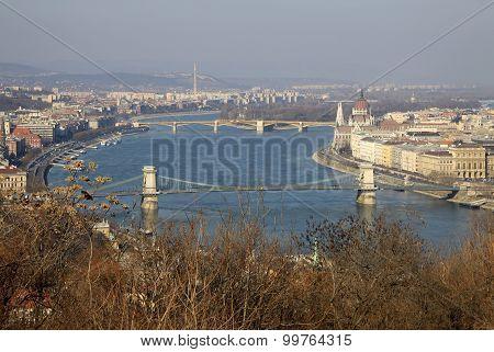 View Of Danube River With Szechenyi Chain Bridge And Margaret Bridge, Budapest, Hungary