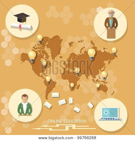 Online Education Distance Learning Professor International Student Technology Map World Training