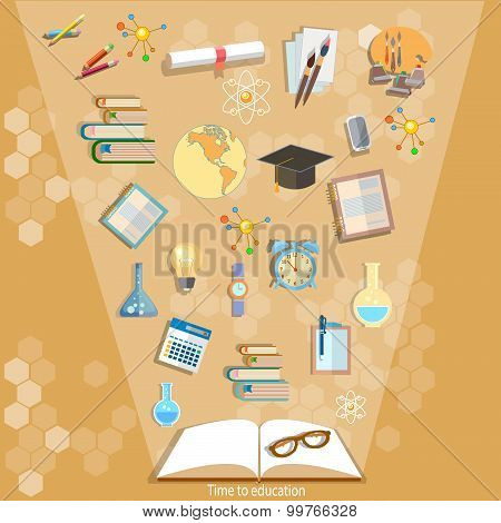 Open Books And Icons Of Education Concept Effective Education Power Of Knowledge Back To School