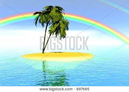 Rainbow Palm Trees Bright