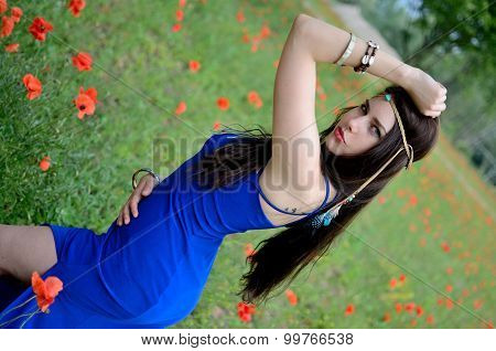 Girl With Blue Dress