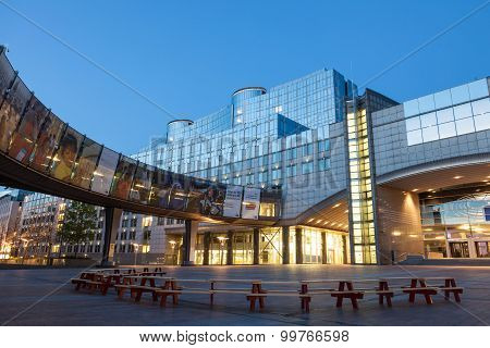 European Parliament Building In Brussels At Dusk