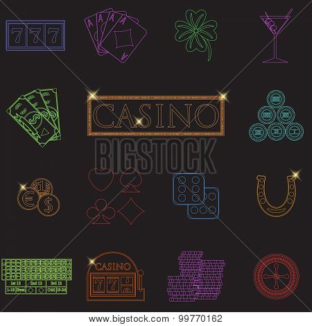 Casino And Gambling Line Icons Set With Slot Machine And Roulette, Chips, Poker Cards, Money, Dice,