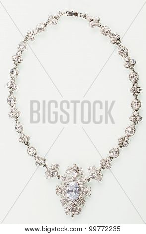 Silver necklace isolated on the white