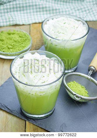 Homemade Green Tea Frappe In Glass, Closeup