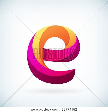Modern Twisted Letter E