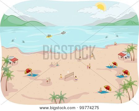 Illustration of Beach Goers Doing Different Beach Activities