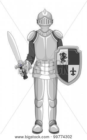 Illustration of a Knight in Full Armor Holding a Sword
