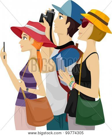 Illustration of a Group of Tourists Sightseeing