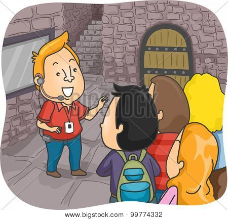 Illustration of a Tour Guide Guiding a Group of Tourists Inside a Castle