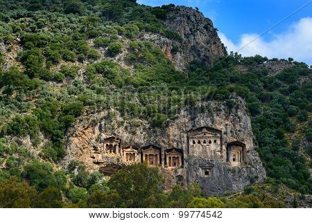 Lycian Tombs In Mountainside